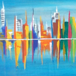 cityscape painting, 24 x 8 inch, dhanashree kadwe,24x8inch,wood board,paintings,cityscape paintings,paintings for living room,acrylic color,GAL02036832219