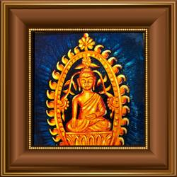 golden statue of lord buddha , 18 x 14 inch, ajay mishra,18x14inch,canvas,paintings,buddha paintings,oil color,GAL02057232234