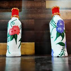 flower bottle craft  (set of 2), 3 x 9 inch, pooja lokhande,3x9inch,acrylic glass,vases,mugs,acrylic color,glass,GAL0420532238