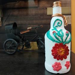 flower bottle craft , 2 x 4 inch, pooja lokhande,2x4inch,acrylic glass,handicrafts,vases,mugs,pottery,acrylic color,glass,GAL0420532239