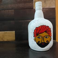 rajasthani man on bottle , 3 x 8 inch, pooja lokhande,3x8inch,acrylic glass,handicrafts,vases,mugs,acrylic color,glass,GAL0420532241