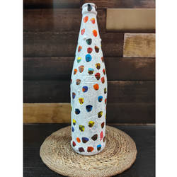 white bottle craft with colorful dots , 3 x 11 inch, pooja lokhande,3x11inch,acrylic glass,handicrafts,vases,mugs,acrylic color,glass,GAL0420532247