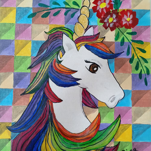 unicorn, 14 x 18 inch, riaa mahadik,14x18inch,canvas,paintings,wildlife paintings,conceptual paintings,children paintings,kids paintings,paintings for living room,paintings for kids room,paintings for school,acrylic color,GAL02061632248