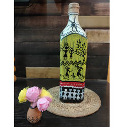 warli bottle painting , 3 x 12 inch, pooja lokhande,3x12inch,acrylic glass,handicrafts,vases,mugs,acrylic color,glass,GAL0420532249