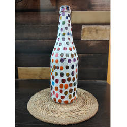 white colorful dots on bottle , 3 x 11 inch, pooja lokhande,3x11inch,acrylic glass,vases,mugs,acrylic color,glass,GAL0420532250