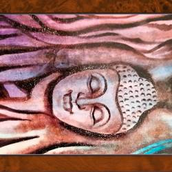 lord buddha in tree, 18 x 14 inch, ajay mishra,18x14inch,canvas,paintings,buddha paintings,oil color,GAL02057232257