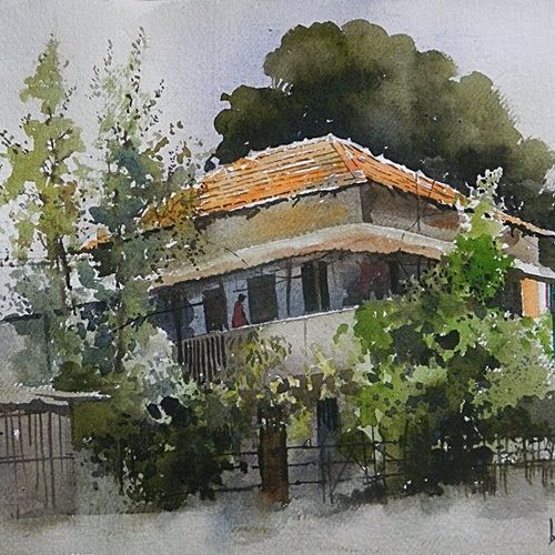 house at dhantoli, 22 x 15 inch, bijay  biswaal,cityscape paintings,paintings for living room,handmade paper,watercolor,22x15inch,GAL011743226