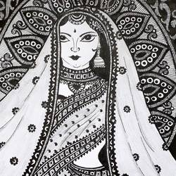 indian queen, 8 x 12 inch, sailaja  balgeri,8x12inch,paper,paintings for dining room,paintings for living room,paintings for office,paintings for hotel,fine art drawings,paintings for dining room,paintings for living room,paintings for office,paintings for hotel,pen color,GAL01586232268