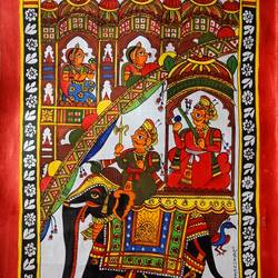 royal ride, 12 x 18 inch, abhishek joshi,12x18inch,cloth,paintings,elephant paintings,phad painting,paintings for dining room,paintings for living room,paintings for office,paintings for hotel,natural color,GAL01642532270