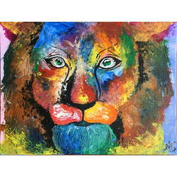 the suave lion, 12 x 16 inch, aashiya iqbal,12x16inch,canvas,abstract paintings,wildlife paintings,conceptual paintings,expressionism paintings,animal paintings,paintings for living room,paintings for hotel,paintings for living room,paintings for hotel,acrylic color,GAL01335032272