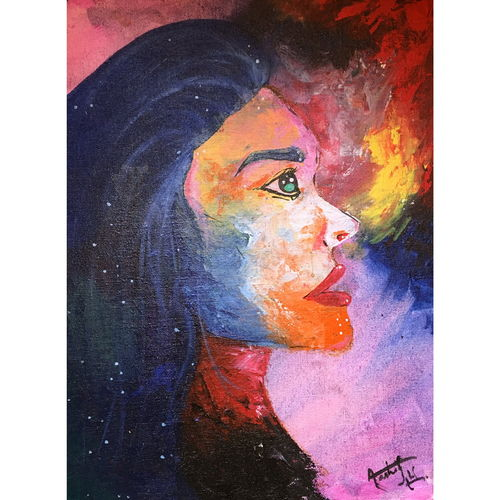 the curious woman, 12 x 16 inch, aashiya iqbal,12x16inch,canvas,paintings,abstract paintings,figurative paintings,conceptual paintings,still life paintings,portrait paintings,abstract expressionism paintings,expressionism paintings,portraiture,paintings for living room,paintings for bedroom,paintings for office,paintings for hotel,acrylic color,GAL01335032274