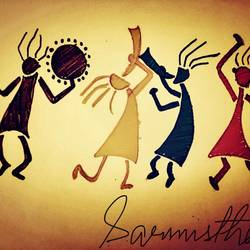 warli tribe, 14 x 10 inch, sarmistha nanda,14x10inch,thick paper,drawings,paintings for dining room,paintings for living room,paintings for bedroom,folk drawings,paintings for dining room,paintings for living room,paintings for bedroom,paper,GAL02064632276