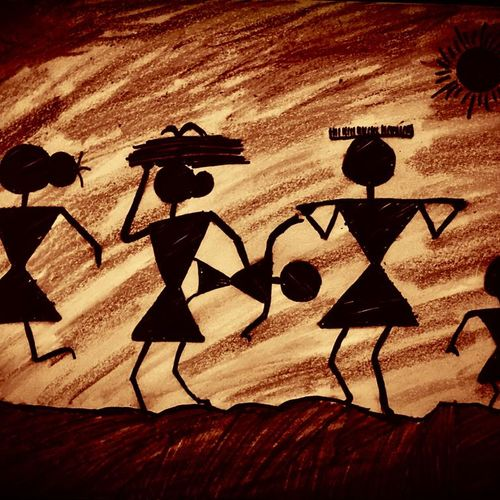 warli tribe, 14 x 10 inch, sarmistha nanda,14x10inch,drawing paper,paintings,expressionism paintings,realism paintings,paintings for dining room,paintings for living room,paintings for bedroom,paintings for office,paintings for hotel,expressionism drawings,paintings for dining room,paintings for living room,paintings for bedroom,paintings for office,paintings for hotel,paper,GAL02064632277