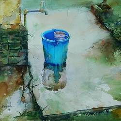 blue bucket, 22 x 15 inch, bijay  biswaal,cityscape paintings,paintings for living room,canson paper,watercolor,22x15inch,GAL011743228