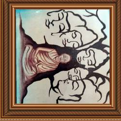 lord buddha many faces, 18 x 14 inch, ajay mishra,18x14inch,canvas,paintings,buddha paintings,oil color,GAL02057232282