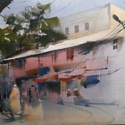 gadkariwada, 20 x 15 inch, bijay  biswaal,cityscape paintings,paintings for living room,handmade paper,watercolor,20x15inch,GAL011743229