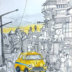 city of joy, calcutta, 10 x 13 inch, tanvi goenka,10x13inch,drawing paper,paintings,cityscape paintings,paintings for dining room,paintings for living room,paintings for bedroom,paintings for office,ink color,mixed media,watercolor,GAL02064432298