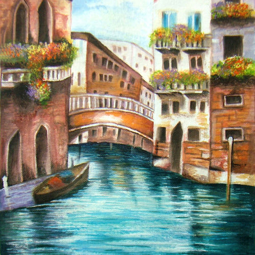 paradise, 9 x 13 inch, neeraj parswal,cityscape paintings,paintings for living room,canvas,acrylic color,9x13inch,GAL09323