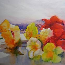 flower on my canvas, 22 x 15 inch, bijay  biswaal,flower paintings,cityscape paintings,paintings for living room,paintings for office,canson paper,watercolor,22x15inch,GAL011743230