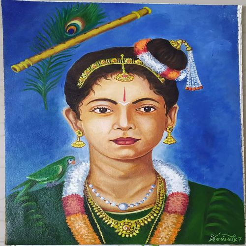 sri andal, 12 x 16 inch, selvakesavan r,12x16inch,canvas,paintings,figurative paintings,oil color,GAL02065532301