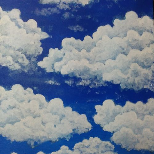clouds, 12 x 16 inch, ebenezer paul,nature paintings,paintings for living room,canvas board,acrylic color,12x16inch,GAL012203231Nature,environment,Beauty,scenery,greenery