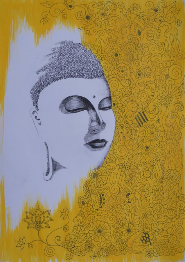 buddha peace of love , 12 x 17 inch, ajay kumar thakur,buddha drawings,paintings for living room,paintings for office,drawing paper,mixed media,12x17inch,GAL011693232