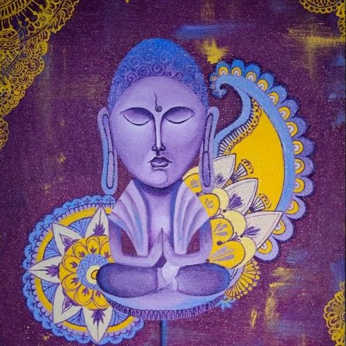 enlighten buddha, 30 x 40 inch, dayana kamble,30x40inch,canvas,paintings,buddha paintings,modern art paintings,religious paintings,illustration paintings,paintings for dining room,paintings for living room,paintings for office,oil color,GAL01452332324