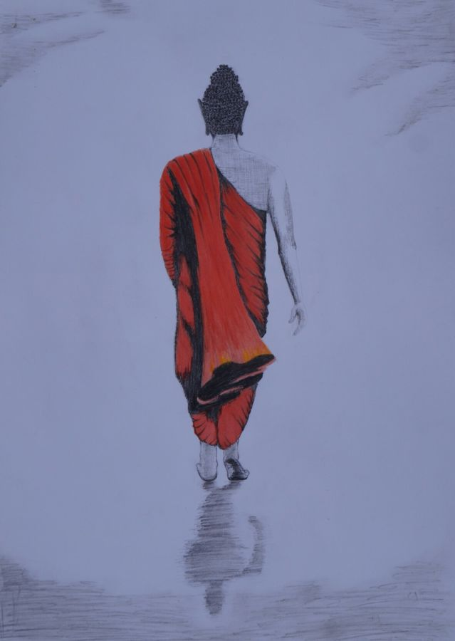 walking buddha , 12 x 17 inch, ajay kumar thakur,buddha drawings,paintings for living room,paintings for office,drawing paper,graphite pencil,12x17inch,GAL011693234
