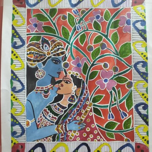 madhubani, 11 x 14 inch, debalina biswas,11x14inch,thick paper,paintings,radha krishna paintings,madhubani paintings | madhubani art,paintings for dining room,paintings for bedroom,paintings for kids room,paintings for hotel,paintings for school,paintings for hospital,poster color,GAL02066532358