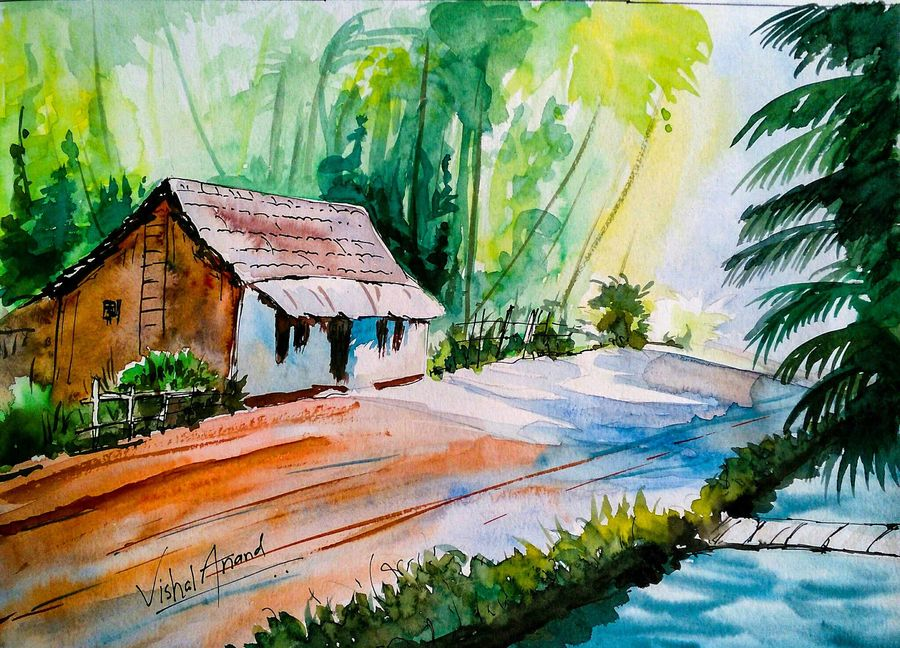 home sweet home abstract landscape watercolor, 17 x 12 inch, vishal anand,landscape paintings,paintings for living room,nature paintings,paintings for office,thick paper,watercolor,17x12inch,GAL012213236Nature,environment,Beauty,scenery,greenery