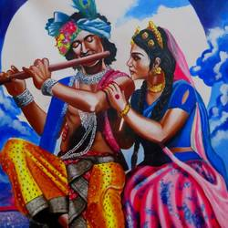 radha & krishna, 26 x 35 inch, shiuli majumder,26x35inch,canvas,paintings,religious paintings,radha krishna paintings,acrylic color,GAL01355232363