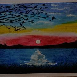 sunset, 8 x 12 inch, chetan lokhande,8x12inch,rice paper,drawings,abstract drawings,charcoal,pastel color,pencil color,watercolor,graphite pencil,paper,GAL02059732365
