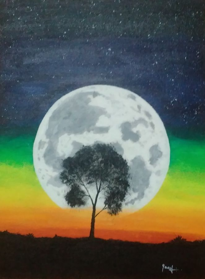 big moon, 12 x 16 inch, ebenezer paul,nature paintings,paintings for living room,canvas board,acrylic color,12x16inch,GAL012203237Nature,environment,Beauty,scenery,greenery