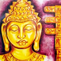 lord buddha in golden face and sanchi torad gate, 29 x 19 inch, ajay mishra,29x19inch,canvas,paintings,buddha paintings,oil color,GAL02057232371