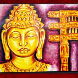 lord buddha in golden face and sanchi torad gate, 29 x 19 inch, ajay mishra,29x19inch,canvas,paintings,buddha paintings,oil color,GAL02057232372
