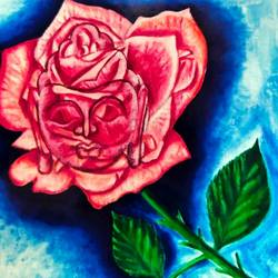 lord buddha in rose , 19 x 16 inch, ajay mishra,19x16inch,canvas,paintings,buddha paintings,oil color,GAL02057232373