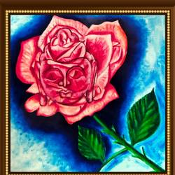 lord buddha in rose , 19 x 16 inch, ajay mishra,19x16inch,canvas,paintings,buddha paintings,oil color,GAL02057232374