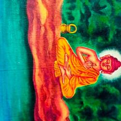 lord buddha in meditation, 28 x 18 inch, ajay mishra,28x18inch,canvas,paintings,buddha paintings,oil color,GAL02057232377