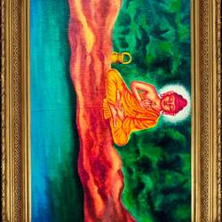 lord buddha in meditation, 28 x 18 inch, ajay mishra,28x18inch,canvas,paintings,buddha paintings,oil color,GAL02057232378