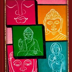 lord buddha many faces , 28 x 18 inch, ajay mishra,28x18inch,canvas,paintings,buddha paintings,oil color,GAL02057232380