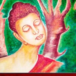 5 faces of lord buddha in tree, 26 x 17 inch, ajay mishra,26x17inch,canvas,paintings,buddha paintings,oil color,GAL02057232385
