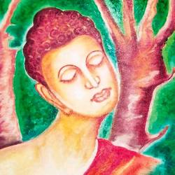 5 faces of lord buddha in tree, 26 x 17 inch, ajay mishra,26x17inch,canvas,paintings,buddha paintings,oil color,GAL02057232386