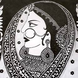 rajasthani bride, 8 x 12 inch, sailaja  balgeri,8x12inch,paper,drawings,fine art drawings,paintings for living room,paintings for bedroom,paintings for hotel,pen color,GAL01586232398