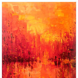 shakti of the morning sun on a city, 20 x 30 inch, mahir rastogi,abstract paintings,canvas,acrylic color,20x30inch,GAL022324