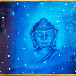 lord buddha in middle of stars , 20 x 16 inch, ajay mishra,20x16inch,canvas,paintings,buddha paintings,oil color,GAL02057232405