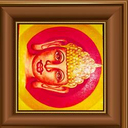 lord buddha in golden background, 22 x 14 inch, ajay mishra,22x14inch,canvas,paintings,buddha paintings,oil color,GAL02057232407