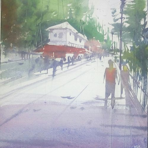 massoorie mall road, 11 x 16 inch, satyabrata parhi,nature paintings,paintings for living room,paintings for office,thick paper,ink color,11x16inch,GAL011633241Nature,environment,Beauty,scenery,greenery
