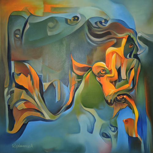 love of mother , 36 x 36 inch, roja lawrence,modern art paintings,paintings for living room,horizontal,canvas,oil,36x36inch,GAL04383242