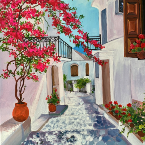 bougainvillea in a santorini street, 20 x 30 inch, the insane soul,20x30inch,canvas,paintings,cityscape paintings,landscape paintings,nature paintings   scenery paintings,paintings for living room,paintings for bedroom,paintings for office,paintings for hotel,paintings for school,paintings for hospital,acrylic color,GAL02055432420