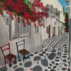 a cobbled street of santorini, 14 x 18 inch, the insane soul,14x18inch,canvas,paintings,cityscape paintings,landscape paintings,nature paintings | scenery paintings,paintings for living room,paintings for bedroom,paintings for office,paintings for hotel,paintings for school,paintings for hospital,acrylic color,GAL02055432421